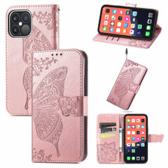 For iPhone 13 Pro Max, 13, 13 Pro, 13 mini Case, Butterfly Wallet Cover, Lanyard & Stand, Rose Gold | PU Leather Cases | iCoverLover.com.au