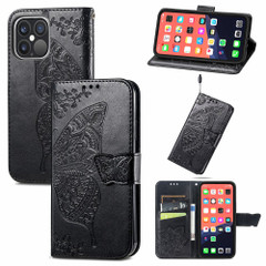 For iPhone 13 Pro Max, 13, 13 Pro, 13 mini Case, Butterfly Wallet Cover, Lanyard & Stand, Black   PU Leather Cases   iCoverLover.com.au