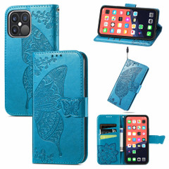 For iPhone 13 Pro Max, 13, 13 Pro, 13 mini Case, Butterfly Wallet Cover, Lanyard & Stand, Blue | PU Leather Cases | iCoverLover.com.au