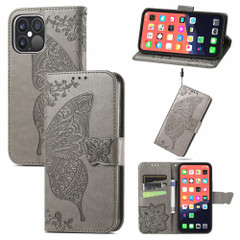 For iPhone 13 Pro Max, 13, 13 Pro, 13 mini Case, Butterfly Wallet Cover, Lanyard & Stand, Grey   PU Leather Cases   iCoverLover.com.au