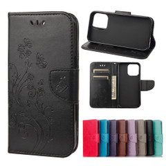 For iPhone 13 Pro Max, 13, 13 Pro, 13 mini Case, Playful Butterflies PU Leather Wallet Cover, Stand, Black   PU Leather Cases   iCoverLover.com.au