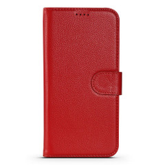 iPhone 13 Pro Max, 13, 13 Pro, 13 mini Case, Genuine Cowhide Leather Wallet Cover, Stand, Red | iCoverLover Australia