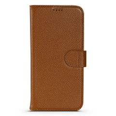 iPhone 13 Pro Max, 13, 13 Pro, 13 mini Case, Genuine Cowhide Leather Wallet Cover, Stand, Brown   iCoverLover Australia