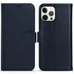 iPhone 13 Pro Max, 13, 13 Pro, 13 mini Case, Genuine Cowhide Leather Wallet Cover, Stand, Blue | iCoverLover Australia