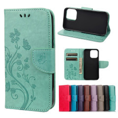 For iPhone 13 Pro Max, 13, 13 Pro, 13 mini Case, Playful Butterflies PU Leather Wallet Cover, Stand, Green   PU Leather Cases   iCoverLover.com.au