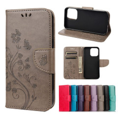 For iPhone 13 Pro Max, 13, 13 Pro, 13 mini Case, Playful Butterflies PU Leather Wallet Cover, Stand, Grey   PU Leather Cases   iCoverLover.com.au