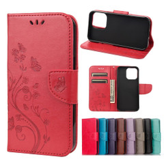 For iPhone 13 Pro Max, 13, 13 Pro, 13 mini Case, Playful Butterflies PU Leather Wallet Cover, Stand, Red | PU Leather Cases | iCoverLover.com.au
