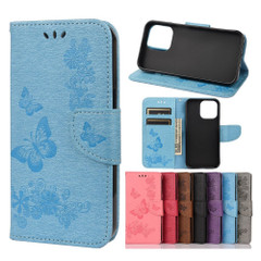 For iPhone 13 Pro Max, 13, 13 Pro, 13 mini Case, Vintage Butterflies Pattern Wallet Cover, Stand, Blue | PU Leather Cases | iCoverLover.com.au