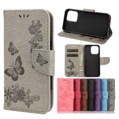 For iPhone 13 Pro Max, 13, 13 Pro, 13 mini Case, Vintage Butterflies Pattern Wallet Cover, Stand, Grey   PU Leather Cases   iCoverLover.com.au