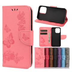 For iPhone 13 Pro Max, 13, 13 Pro, 13 mini Case, Vintage Butterflies Pattern Wallet Cover, Stand, Pink | PU Leather Cases | iCoverLover.com.au