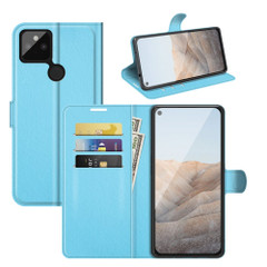 Case for Google Pixel 5a 5G or 4a, PU Leather Folio Protective Wallet Cover with Stand in Blue| iCoverLover Australia