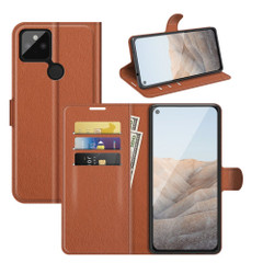 Case for Google Pixel 5a 5G or 4a, PU Leather Folio Protective Wallet Cover with Stand in Brown| iCoverLover Australia