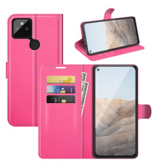 Case for Google Pixel 5a 5G or 4a, PU Leather Folio Protective Wallet Cover with Stand in Rose Red| iCoverLover Australia