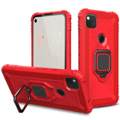 For Google Pixel 4A 5G Case Carbon Fiber Protective Cover, 360 Degree Rotating Ring Holder, Red   iCoverLover Australia