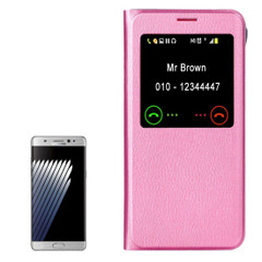 Pink Lychee Leather Caller ID Display Samsung Galaxy Note FE Case | Leather Samsung Galaxy Note FE Cases | Leather Samsung Galaxy Note FE Covers | iCoverLover