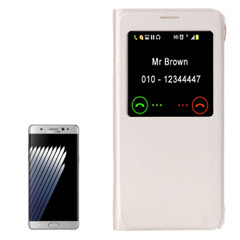 White Lychee Leather Caller ID Display Samsung Galaxy Note FE Case | Leather Samsung Galaxy Note FE Cases | Leather Samsung Galaxy Note FE Covers | iCoverLover