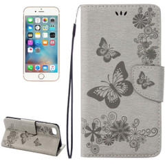 Grey Butterflies Emboss Leather Wallet iPhone 8 & 7 Case | iPhone 8 & 7 Leather Cases | iPhone 8 & 7 Leather Covers | iCoverLover