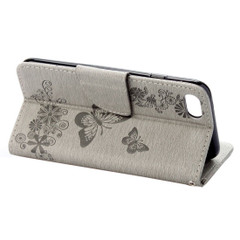 Grey Butterflies Emboss Leather Wallet iPhone SE (2020) / 8 / 7 Case | iCoverLover