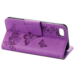 Purple Butterflies Emboss Leather Wallet iPhone SE (2020) / 8 / 7 Case | iCoverLover