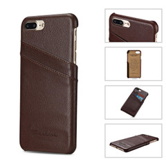 iPhone 8 Plus & iPhone 7 Plus Case Brown Genuine Leather Fashion Cover With 2 Exterior Card Slots | Genuine Leather iPhone 8 PLUS & 7 PLUS Cases | Genuine Leather iPhone 8 PLUS & 7 PLUS Covers | iCoverLover