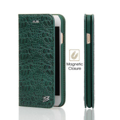 iPhone 8 & iPhone 7 Case Green Fierre Shann Crocodile Genuine Cow Leather Cover with 1 Card Slot and Built-in Kickstand | Leather iPhone 8 & 7 Cases | Leather iPhone 8 & 7 Covers | iCoverLover