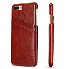 iPhone 8 Plus & iPhone 7 Plus Case Red Deluxe Leather Cover With 2 Exterior Card Slots | Leather iPhone 8 PLUS & 7 PLUS Covers | Leather iPhone 8 PLUS & 7 PLUS Cases | iCoverLover