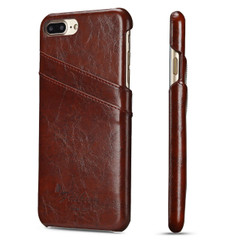 iPhone 8 Plus & iPhone 7 Plus Case Brown Deluxe Leather Cover With 2 Exterior Card Slots | Leather iPhone 8 PLUS & 7 PLUS Covers | Leather iPhone 8 PLUS & 7 PLUS Cases | iCoverLover