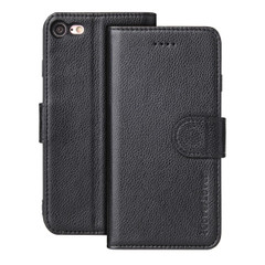 iPhone SE (2020) / 8 / 7 Case, Genuine Leather Folio Wallet Cover, Black