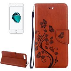 Coffee Butterflies Emboss Leather Wallet iPhone 8 PLUS & 7 PLUS Case | Leather Wallet iPhone 8 PLUS & 7 PLUS Cases | Leather iPhone 8 PLUS & 7 PLUS Covers | iCoverLover