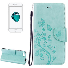 Green Butterflies Emboss Leather Wallet iPhone 8 PLUS & 7 PLUS Case | Leather Wallet iPhone 8 PLUS & 7 PLUS Cases | Leather iPhone 8 PLUS & 7 PLUS Covers | iCoverLover