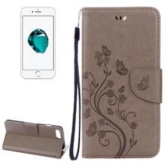 Grey Butterflies Emboss Leather Wallet iPhone 8 PLUS & 7 PLUS Case | Leather Wallet iPhone 8 PLUS & 7 PLUS Cases | Leather iPhone 8 PLUS & 7 PLUS Covers | iCoverLover