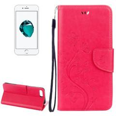 Magenta Butterflies Emboss Leather Wallet iPhone 8 PLUS & 7 PLUS Case | Leather Wallet iPhone 8 PLUS & 7 PLUS Cases | Leather iPhone 8 PLUS & 7 PLUS Covers | iCoverLover