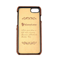 iPhone SE (2020) / 8 / 7 Case Light Brown Crocodile Pattern Genuine Leather Protective Shell with 1 Card Slot, Anti-Grip, Scratch-Resistant and Drop-prooiCoverLover