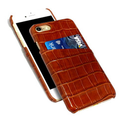 iPhone 8 & 7 Case Light Brown Crocodile Pattern Genuine Leather Protective Shell with 1 Card Slot, Anti-Grip, Scratch-Resistant and Drop-proof | iPhone 8 & 7 Genuine Leather Covers | iPhone 8 & 7 Genuine Leather Cases | iCoverLover