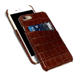 iPhone 8 & 7 Case Dark Brown Crocodile Pattern Genuine Leather Protective Shell with 1 Card Slot, Anti-Grip, Scratch-Resistant and Drop-proof | iPhone 8 & 7 Genuine Leather Covers | iPhone 8 & 7 Genuine Leather Cases | iCoverLover