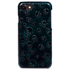 iPhone 8 & iPhone 7 Case Green Skulls Genuine Cowhide Leather Back Cover with Anti-Scratch, Anti-Slip | iPhone 8 & iPhone 7 Genuine Leather Covers | iPhone 8 & iPhone 7 Genuine Leather Cases | iCoverLover