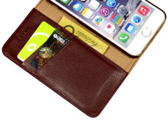 iPhone 8 & iPhone 7 Case Red Cowhide Genuine Leather Wallet Case with 2 Card Slots, Kickstand | Genuine Leather iPhone 8 & iPhone 7 Covers Cases | Genuine Leather iPhone 8 & iPhone 7 Covers