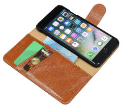 iPhone 8 & iPhone 7 Case Brown Cowhide Genuine Leather Wallet Case with 2 Card Slots, Kickstand | Genuine Leather iPhone 8 & iPhone 7 Covers Cases | Genuine Leather iPhone 8 & iPhone 7 Covers