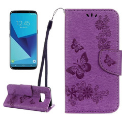 Purple Butterflies Embossed Leather Wallet Samsung Galaxy S8 Case | Leather Samsung Galaxy S8 Cases | Fashion Samsung Galaxy S8 Covers | iCoverLover