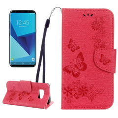 Red Butterflies Embossed Leather Wallet Samsung Galaxy S8 Case | Leather Samsung Galaxy S8 Cases | Fashion Samsung Galaxy S8 Covers | iCoverLover