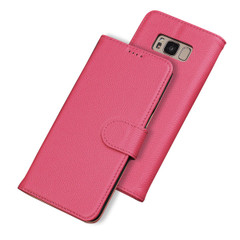 Samsung Galaxy S8 Case Rose Fashion Cowhide Genuine Leather Cover With 2 Card Slots, Cash Pocket & Built-in Kickstand | Genuine Leather Samsung Galaxy S8 Covers Cases | Genuine Leather Samsung Galaxy S8 Covers | iCoverLover