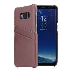 Samsung Galaxy S8 Case Brown Genuine Leather Cover With 2 Exterior Card Slots And Enhanced Anti Slip Grip   Genuine Leather Samsung Galaxy S8 Cases   Genuine Leather Samsung Galaxy S8 Covers   iCoverLover