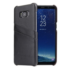 Samsung Galaxy S8 Case Black Genuine Leather Cover With 2 Exterior Card Slots And Enhanced Anti Slip Grip | Genuine Leather Samsung Galaxy S8 Cases | Genuine Leather Samsung Galaxy S8 Covers | iCoverLover