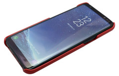 Samsung Galaxy S8 Case Red Genuine Leather Cover With 2 Exterior Card Slots And Enhanced Anti Slip Grip   Genuine Leather Samsung Galaxy S8 Cases   Genuine Leather Samsung Galaxy S8 Covers   iCoverLover