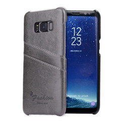 Samsung Galaxy S8 PLUS Case Grey Deluxe Leather Shell Cover with Card Slots   Leather Samsung Galaxy S8 PLUS Covers   Leather Samsung Galaxy S8 PLUS Cases   iCoverLover