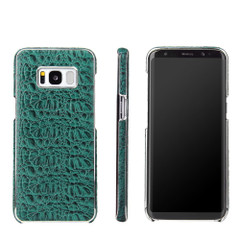 Samsung Galaxy S8 Case Green Fierre Shann Crocodile Electroplating Genuine Leather Cover with Anti-Slip and Shockproof   Genuine Leather Samsung Galaxy S8 Cases   Genuine Leather Samsung Galaxy S8 Covers   iCoverLover
