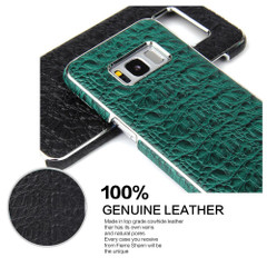 Samsung Galaxy S8 Case Black Fierre Shann Crocodile Electroplating Genuine Leather Cover with Anti-Slip and Shockproof   Genuine Leather Samsung Galaxy S8 Cases   Genuine Leather Samsung Galaxy S8 Covers   iCoverLover