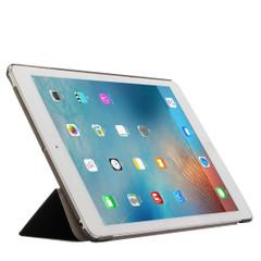 Black Silk Textured 3-fold Leather iPad 2017 9.7-inch Case | Leather iPad 2017 Cases | iPad 2017 Covers | iCoverLover