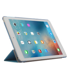 Blue Silk Textured 3-fold Leather iPad 2017 9.7-inch Case   Leather iPad 2017 Cases   iPad 2017 Covers   iCoverLover