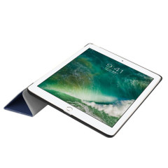 Dark Blue Karst Textured 3-fold Leather iPad 2017 9.7-inch Case | Leather iPad 2017 Cases | iPad 2017 Covers | iCoverLover